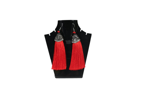 Dhanari Stylish Red Color Theard Earrings For Women's (JW-73) T005