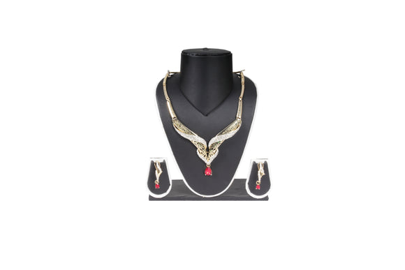 Dhanari Women's Golden Color Shining Tradiitional Necklace Set (JW-81)B0005