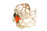 Dhanari Women's Orange & White Color Artificial Rose Gold Plated Bracelet (JW-96)Q00011
