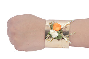 Dhanari Women's White & Orange Color Artificial Unique Style Bracelet (JW-96)Q0006