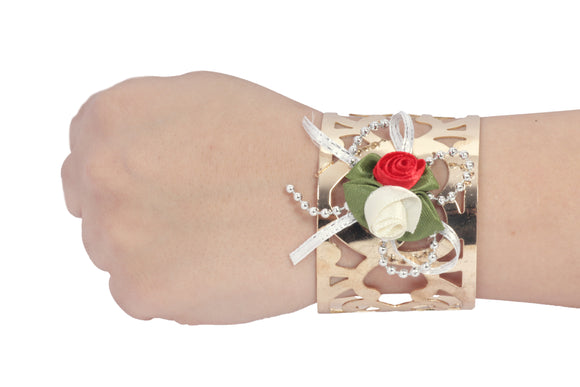 Dhanari Women's Red & White Color Artificial Rose Gold Plated Bracelet (JW-96)Q0009