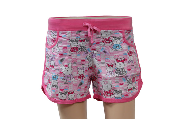 Dhanari Women's Pink Printed Regular Fit Regular Shorts (NS-10) J2