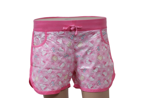 Dhanari Pink Printed Regular Fit Regular Shorts For Women's (NS-10) J6