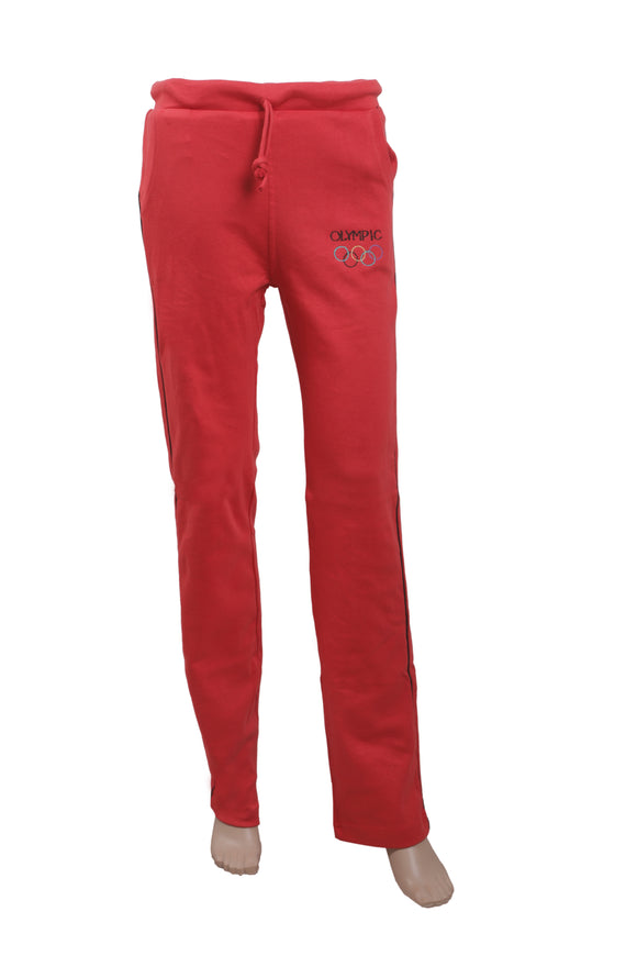 Dhanari Women's Red Color Stetchable Plain Cotton Olympic  Lower Night Suits(NS-11)K4