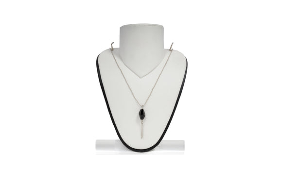 Dhanari Women's Black Crystal Stone Pendant Simple Sliver Chain Necklace Set(JW-112)G000010