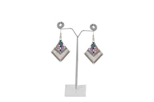 Dhanari Stylish Multicolor Stones Unique Design Sliver Earrings For Women's (JW-127)V00006