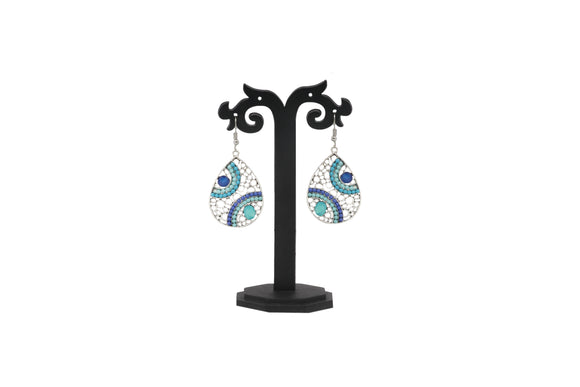 Dhanari Women's Mulitcolor Cyan & Blue Silver Plated Earrings (JW-128) W00006