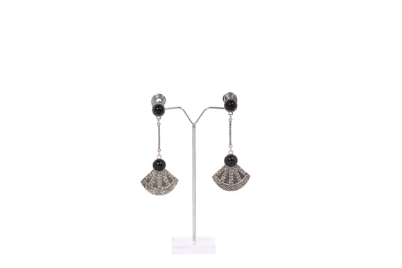 Dhanari Black Stone Metal Earrings For Women's (JW-132)A000006