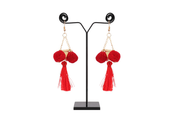 Dhanari Women's Designer Red Thread Tanssels Funky Earrings(JW-149)R000001