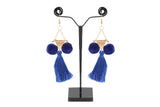 Designer Golden Hook With Royal Blue Thread Tanssels Earrings(JW-149)R000005