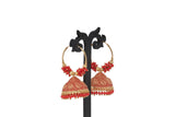 Dhanari Women's Gold & Red Plated Jhumka Earrrings (JW-154)W0000019
