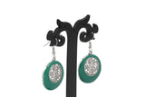 Dhanari Women's Silver Plated Green Drop Hoop Earrings (JW-155) X0000026