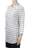 Dhanari Women's Black & White Checks Regular Casual Fit Topper (TOP-1) A15