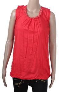 Dhanari Women's Red U Shape Casual Stylish Comfortable Long Toppers(TOP-10)J19