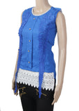Dhanari Women's Blue Leaves With Buttons Designs Stylish Toppers(TOP-13)M18