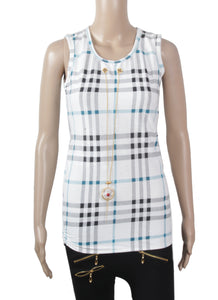 Dhanari White With Black Checks Color Top For Women's (TOP-17) Q10