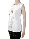 Dhanari Stylish Front Lace Pattern White Color Long Topper For Women's (TOP-20) T12