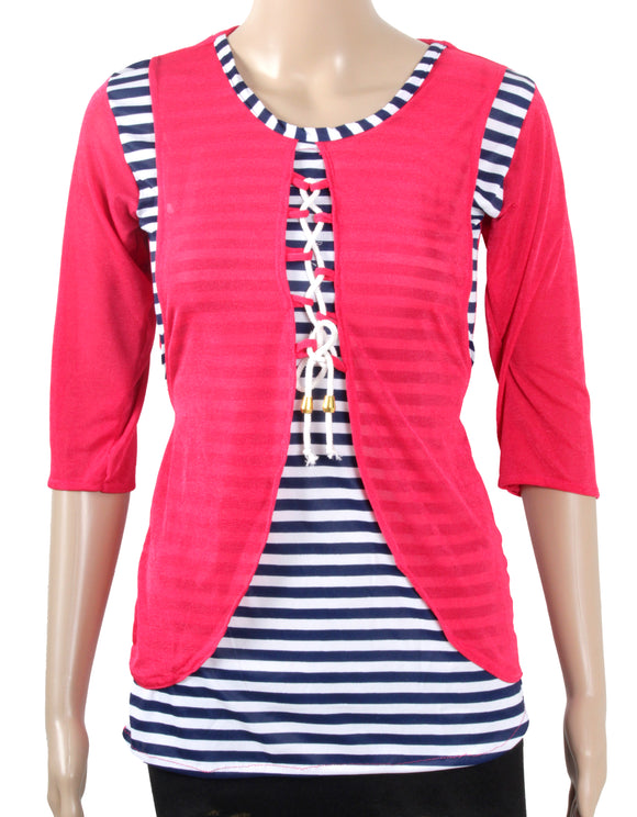Dhanari Women's Red Casual Wear Toppers(TOP-24)X3
