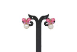 Dhanari Women's Pink Butterfly Pearl Earrings (JW-157)Z0000024
