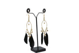 Dhanari Women's Gold with Black Feathers Earrings(JW-148)Q00002