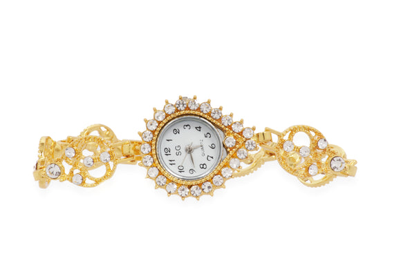 Dhanari Golden Watch With Diamond For Women's (WAT-10) J4