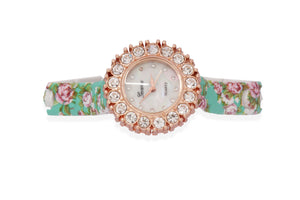 Dhanari Women's Green Round Shape Dial Party Wear Flowers Designs Watches (WAT-14)N2