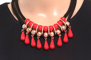 Dhanari Women's Red Color Charming Necklace (JW-26)Y7