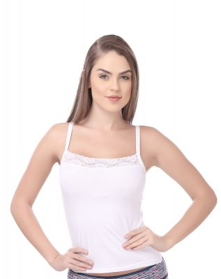 Softline Butterfly White Color Camisole For Women's (CS_C102_ White)