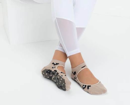 Slide On Non Slip Grip Socks, Nude Cheetah