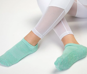 Classic Low Rise Non Slip Grip Socks, Mint Sparkle