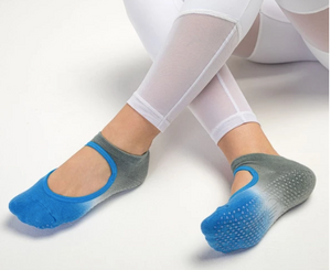 Slide On Non Slip Grip Socks, Ombre Blue