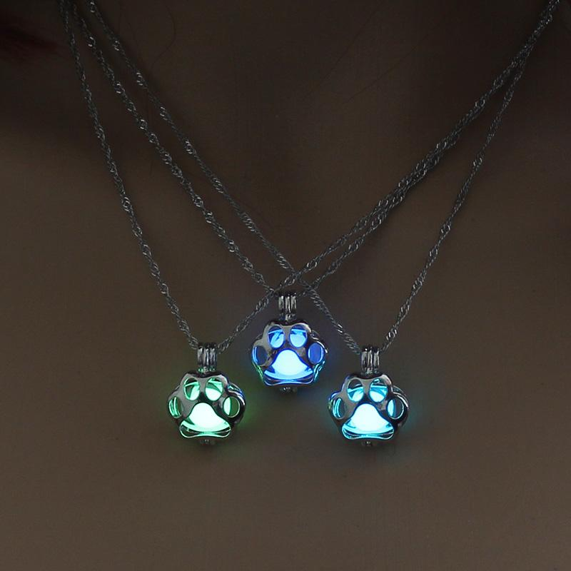 Glow in the Dark Dog Paw silver Chain Necklaces