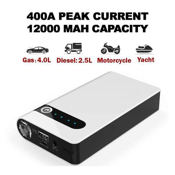 Battery Rescue - Portable Car Battery Jump Starter (12V 12000mah 400A), USB Power Bank, LED Flashlight