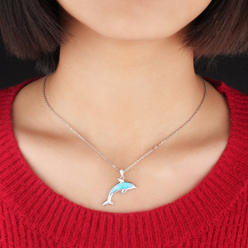 Opal dolphin pendant necklace save the ocean wildlife opal dolphin pendant necklace aloadofball Choice Image