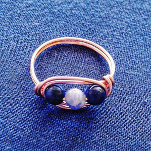 Lapis Lazuli and Sodalite Wirewrapped Ring