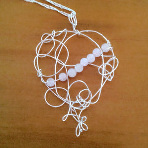 Sterling Silver Wire Heart Pendant with Rose Quartz