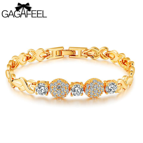 Infinity Gold Chain Bracelet with 18K Zirconia Crystals