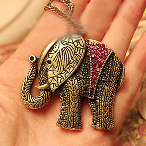 Retro Gold Elephant Pendant Long Necklace