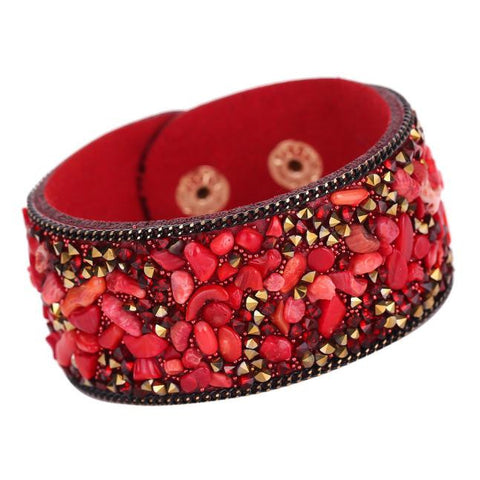 Crystals and Leather Cuff Bracelets