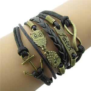 Antique Bronze Anchor Owl Charm Leather Rope Bracelet