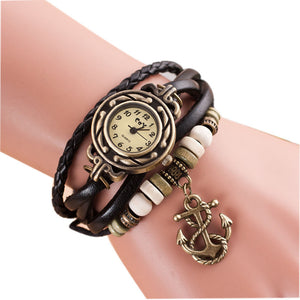 Quartz Weave Around Leather Anchor Bracelet Watch