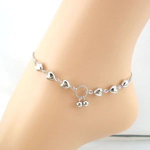 Silver Hearts and Cherries Charm Anklet