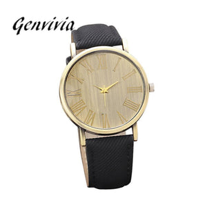 Vintage Gold Face Denim Band Ladies Watch