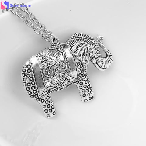 Vintage Silver Elephant Pendant Necklace