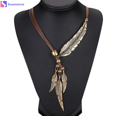Vintage Style Feathers Pendant Long Necklace