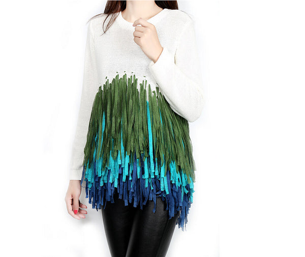 Long Sleeve Knitted Round Neck Tassels Pullover