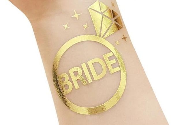 gold metallic tattoo bride tribe team bride engagement ring