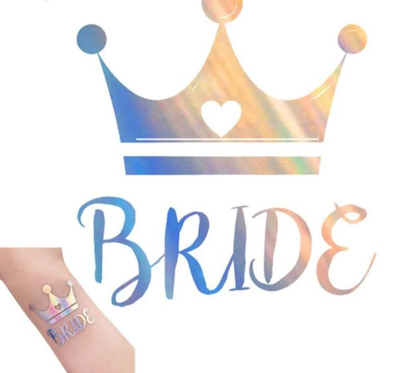 rainbow metallic tattoo bride tribe team bride crown