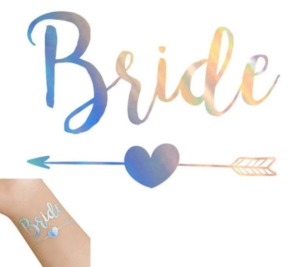 silver metallic tattoo bride tribe team bride arrow