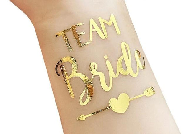 gold metallic tattoo bride tribe team bride arrow heart